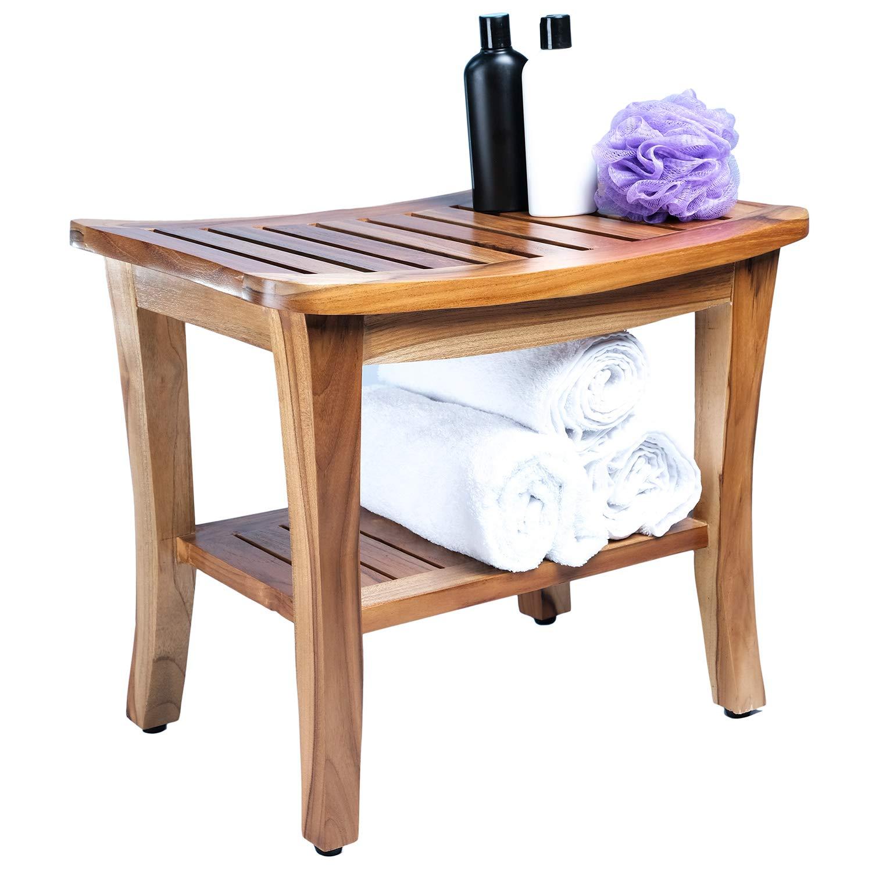 (Fully Assembled) Koroni Andrea Indonesian Solid Slatted Teak Shower Bench