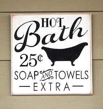 stan256nancy bathroom sign wooden bath sign 12 x 12 plaque primitive rh amazon co uk Funny Bathroom Signage vintage bathroom signs wood