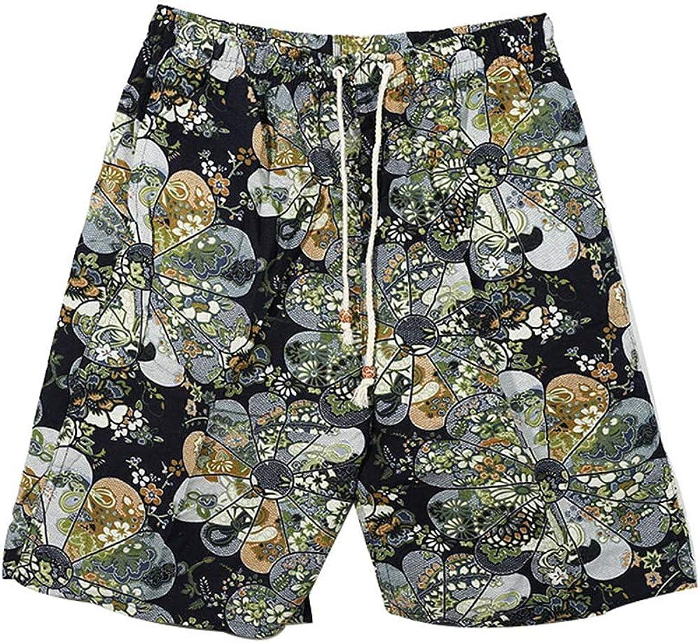 Pantalones De Playa De Algodón Y Lino para Hombre De Verano Shorts De 5 Puntos con Cordón Deportivo Recreativo Pantalones Salvajes Elegantes Y Simples