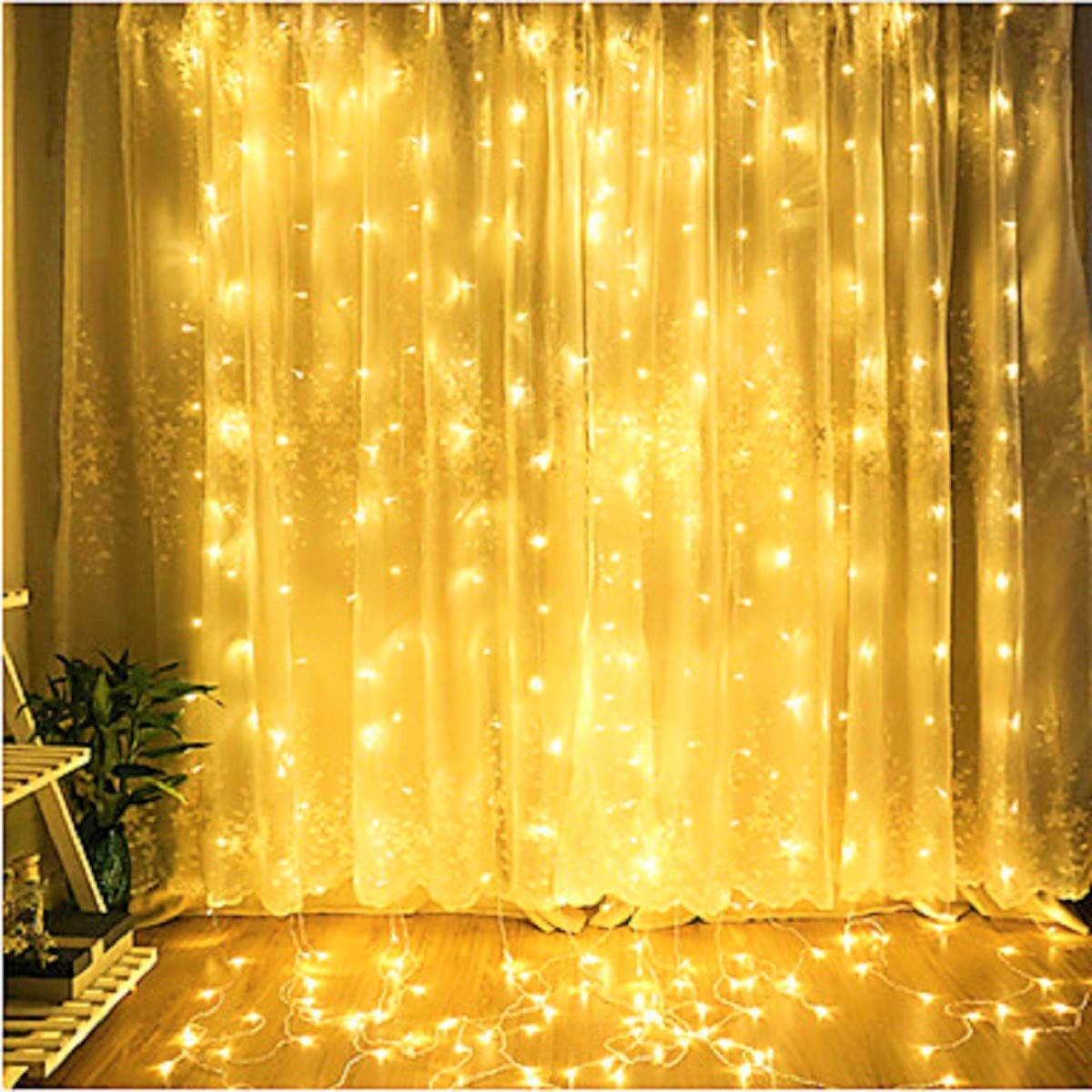 Alvinker New-Type Waterproof LED Window Curtain String Lights with Remote&Timer, for Garden, Bedroom, Wedding, Party Decorations. Outdoor/Indoor Use. UL FCC CE and RoHS Certified(Warm White) by Alvinker (Image #1)