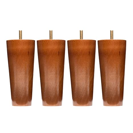 Sofa Legs Set Of 4, Round 5 Inch Replacement Solid Wood Furniture Leg  Extenders For