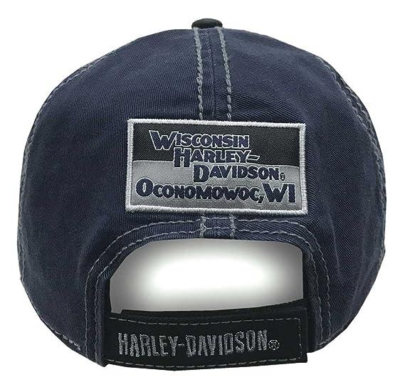 56f27444997 Amazon.com  Harley-Davidson Men s Block H-D Name Baseball Cap BC10389 Blue   Harley-Davidson  Clothing