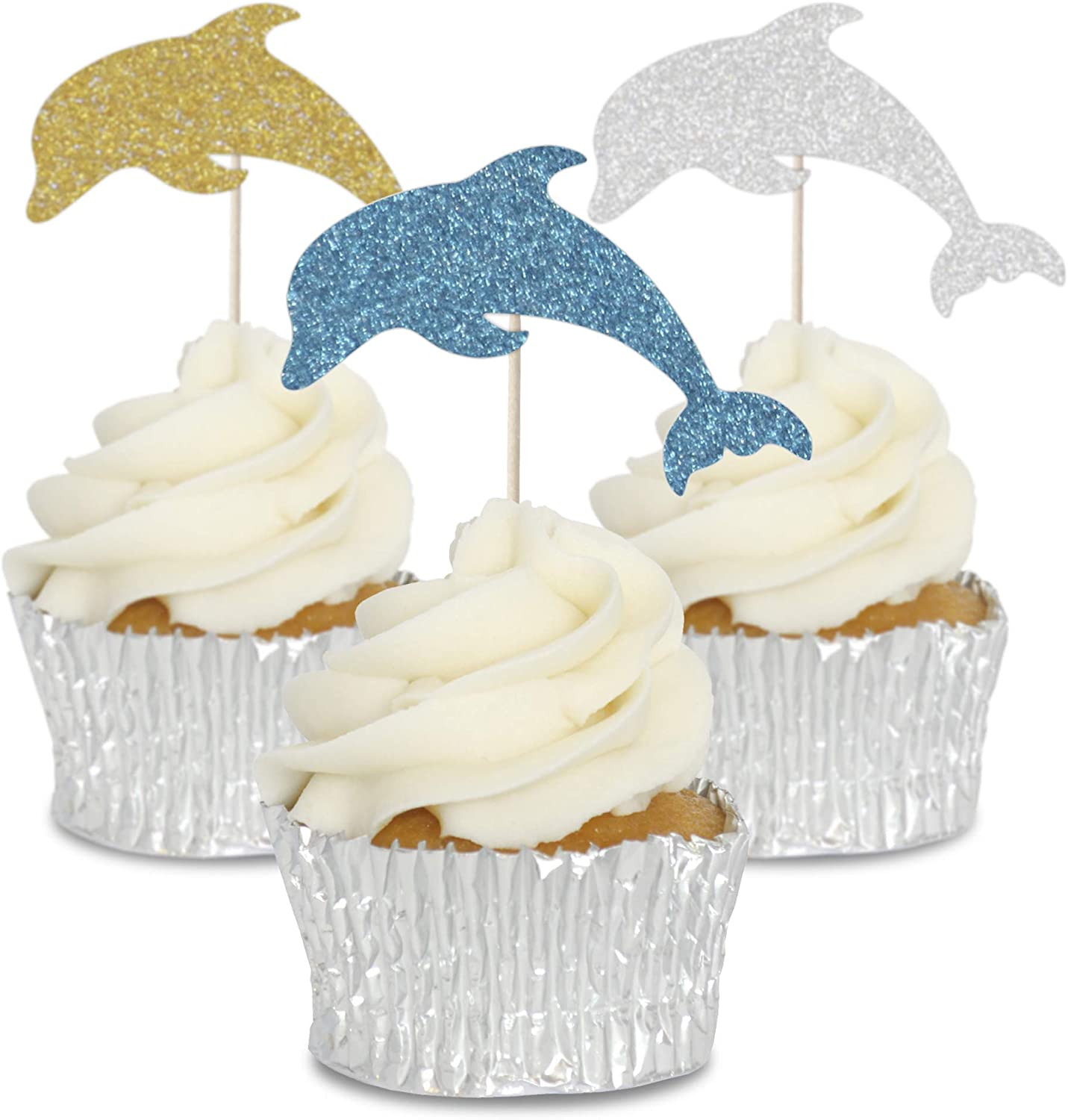 12 Beach Theme Cupcake Decoration Rice Paper Cake Toppers Precut 40mm Summer