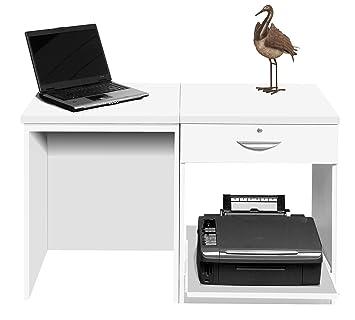 Home Mobiliario de Oficina UK pequeño Ordenador portátil Impresora Mesa para niños Kids Escritorio de Ordenador (2 Piezas, Madera, Blanco, Perfil de satén,: ...