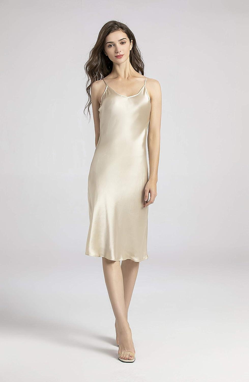 Silk Slip Dress 100 Silk Charmeuse Bias Cut Midi Length Black Beige Large At Amazon Women S Clothing Store