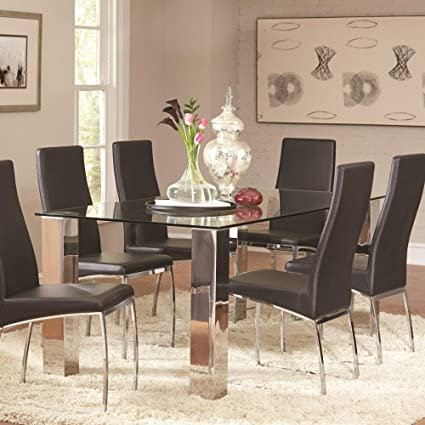 Amazon Com Coaster 107111 Co Furniture Bellini Glass Dining Table