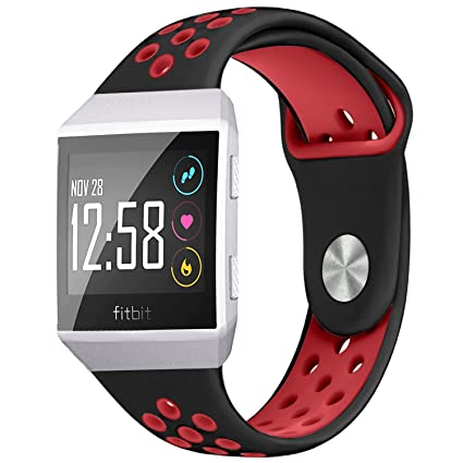 NO1seller Top Bands Compatible for Fitbit Ionic Small Large, Soft Silicone Sport Strap Accessories with Ventilation Holes Replacement Wristband for ...