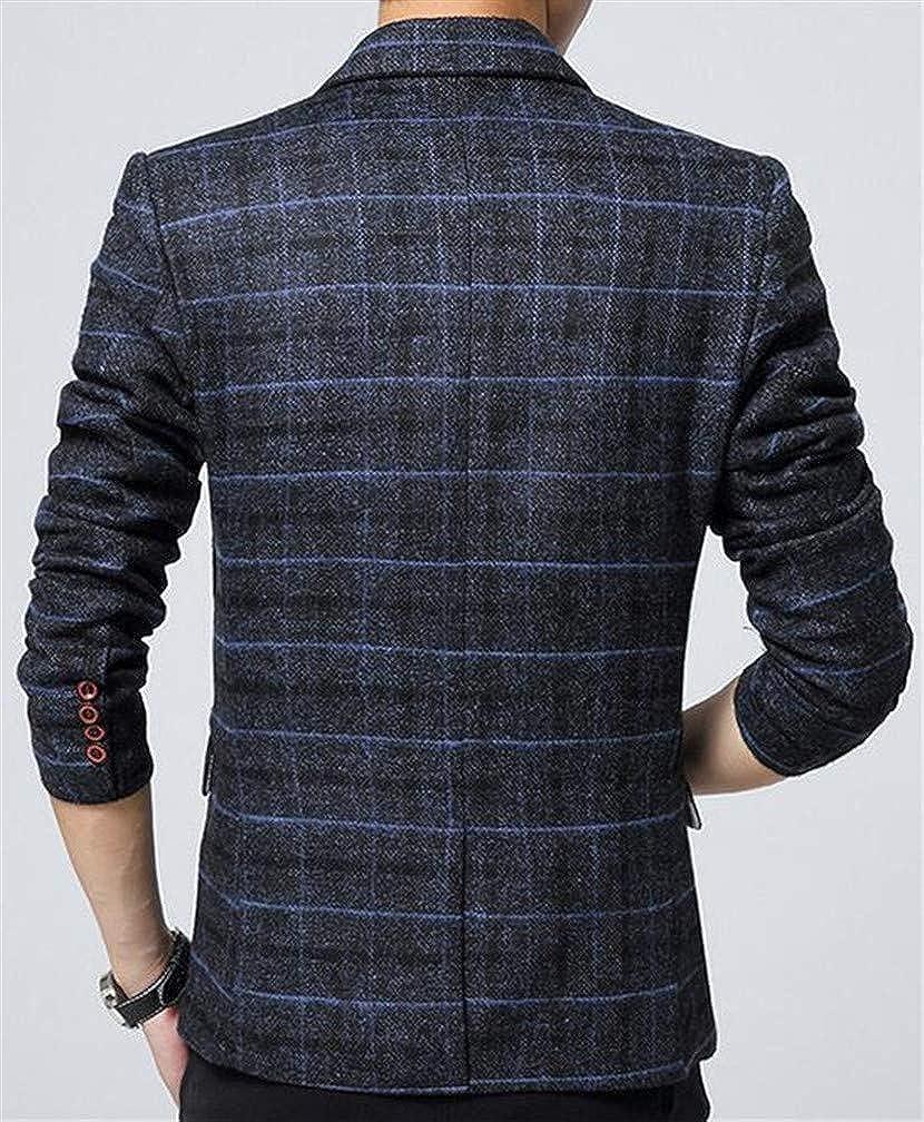 Macondoo Men One Button Classic Plaid Lapel Neck Coat Sports Blazer Jacket
