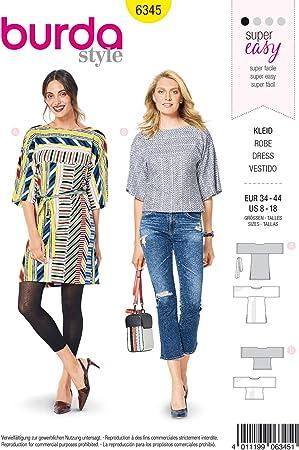 Burda 6345 - Patrón de Costura para Confeccionar Blusa de Mujer ...
