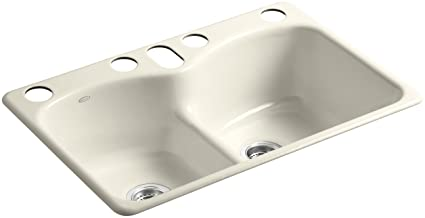 Gentil KOHLER K 6626 6U 47 Langlade Smart Divide Undercounter Kitchen Sink, Almond
