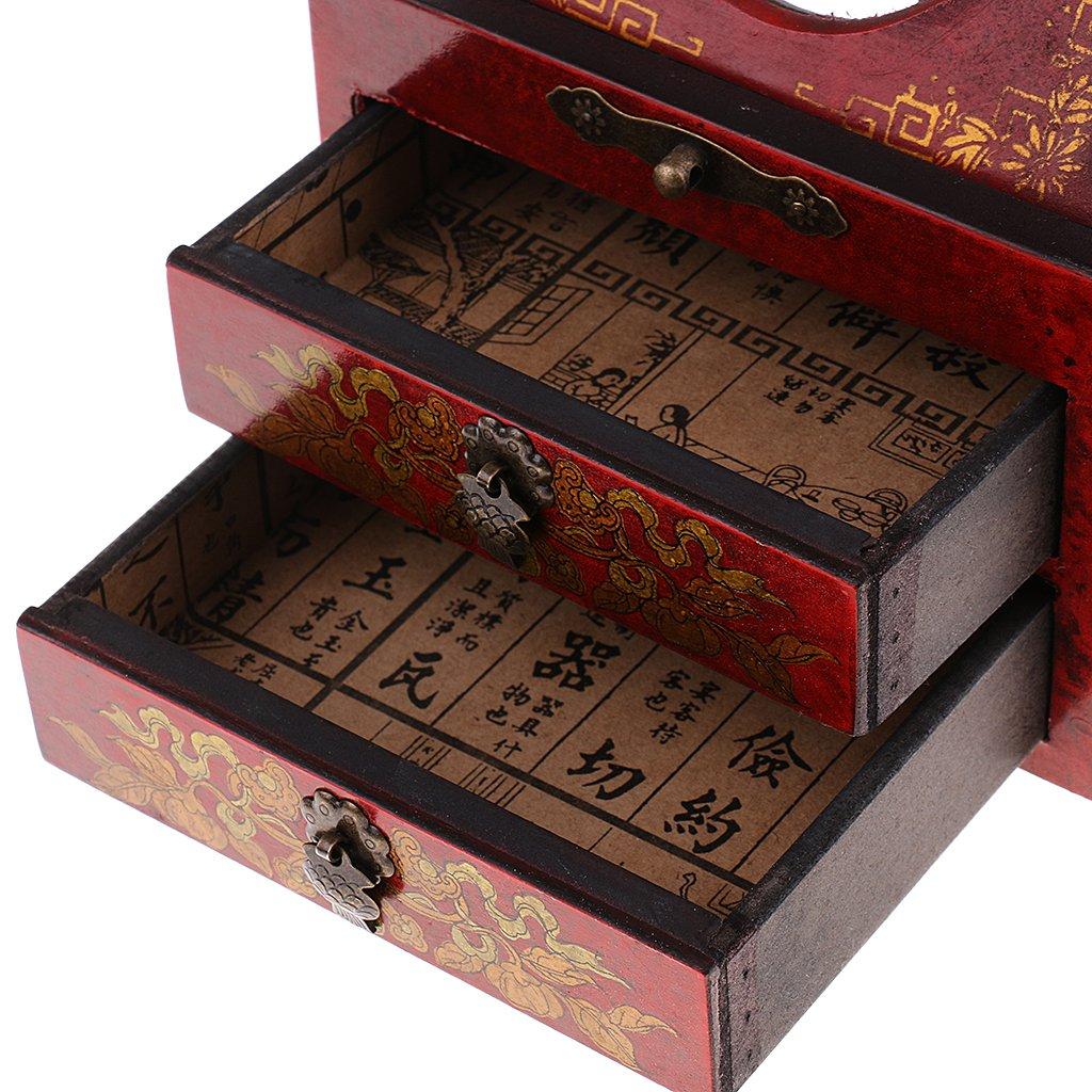 Baoblaze Vintage Jewelry Box Case Wooden Makeup Dresser Chest Cabinet Keepsake Home Decoration - Red, as described by Baoblaze (Image #6)