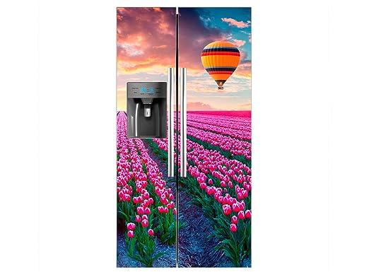 Vinilo Frigorífico Americano Campo Tulipanes Rosas | 91x176cm ...