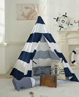 DalosDream Indoor Canvas Teepee Tent for Kids with Mat Floor and Carry bag-Navy Striped & Amazon.com: Tipi Play Tent for Kids Toddlers Indoor Indian ...