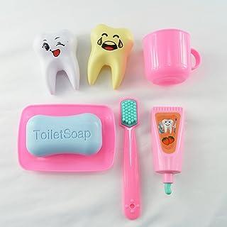 Faironly 7PCS/Set Baby Toys plastica Pretend Play Doctor Set Toy Play/Dentale Dentista Strumenti Simulazione Medicina Box Rosa