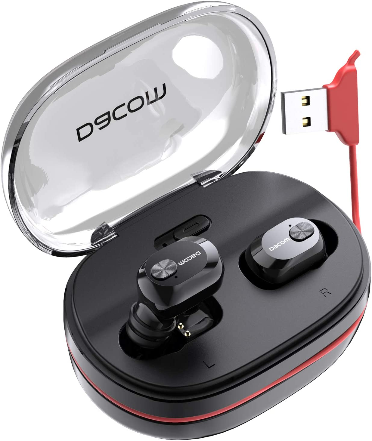 DACOM Wireless Headphones Bluetooth 5.0 True Wireless Earbuds, 72H Playtime TWS Bluetooth Earphones with Mic,1100mAh Backup Charging Case Built in Unique Charging Cable (2019 Newest Upgraded Version)