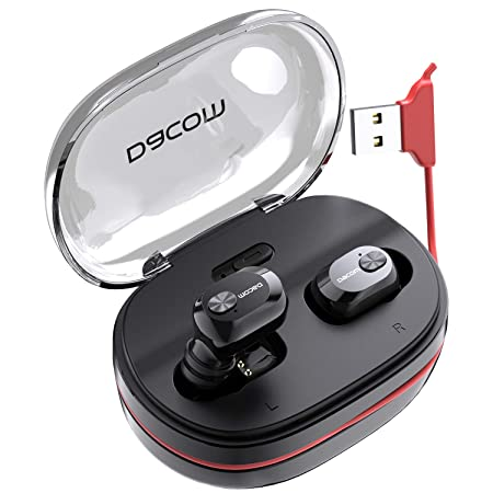 Bluetooth Headphones DACOM True Wireless Earbuds with mic Balanced Bass Stereo Mini Earphone Extra Lightweight Cordless Headset with 1100 mAH Portable Charging Case