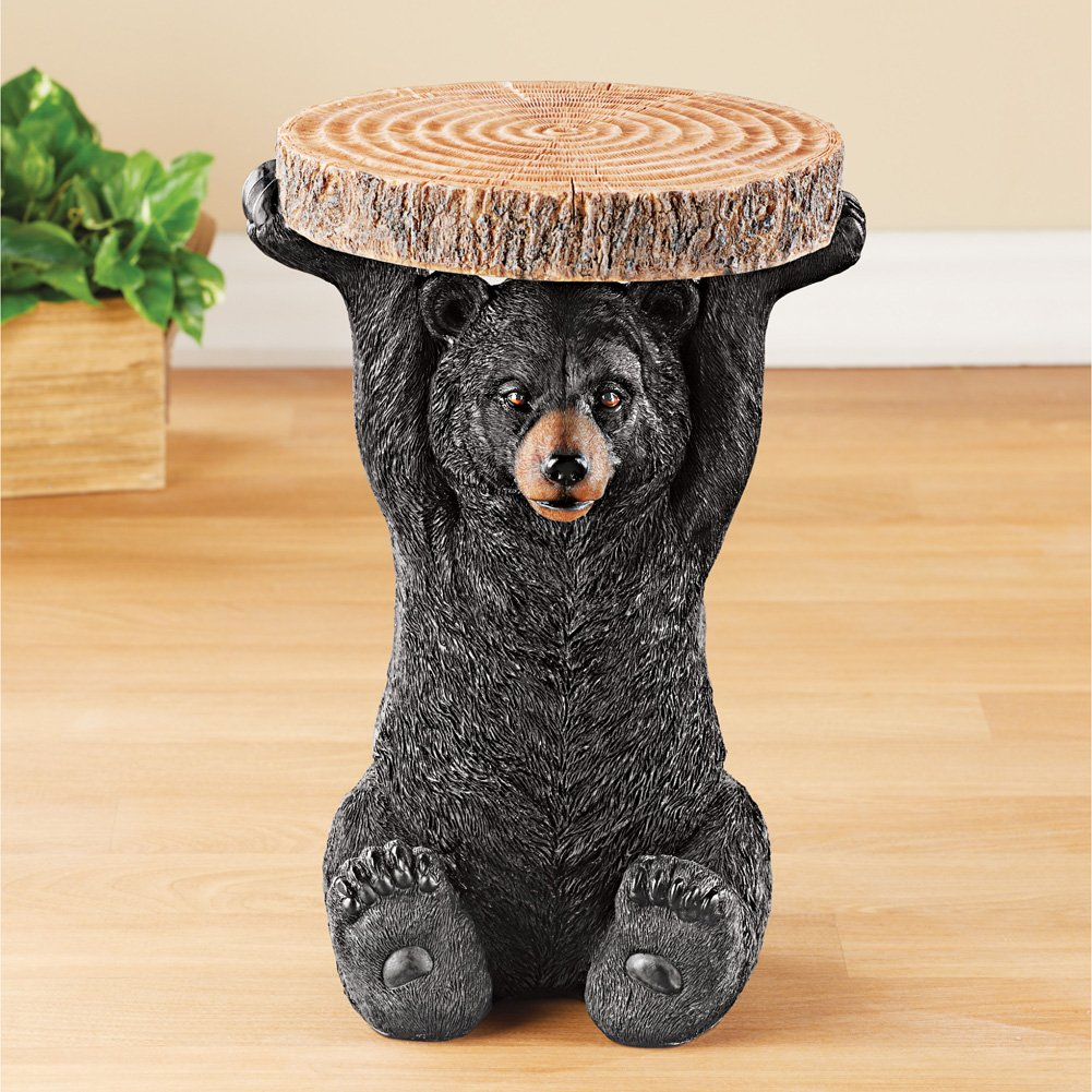 Black Bear Sparkling Brown Eyes.Lodge Faux Log Tabletop Intricate Realistic Details Resin Accent Table