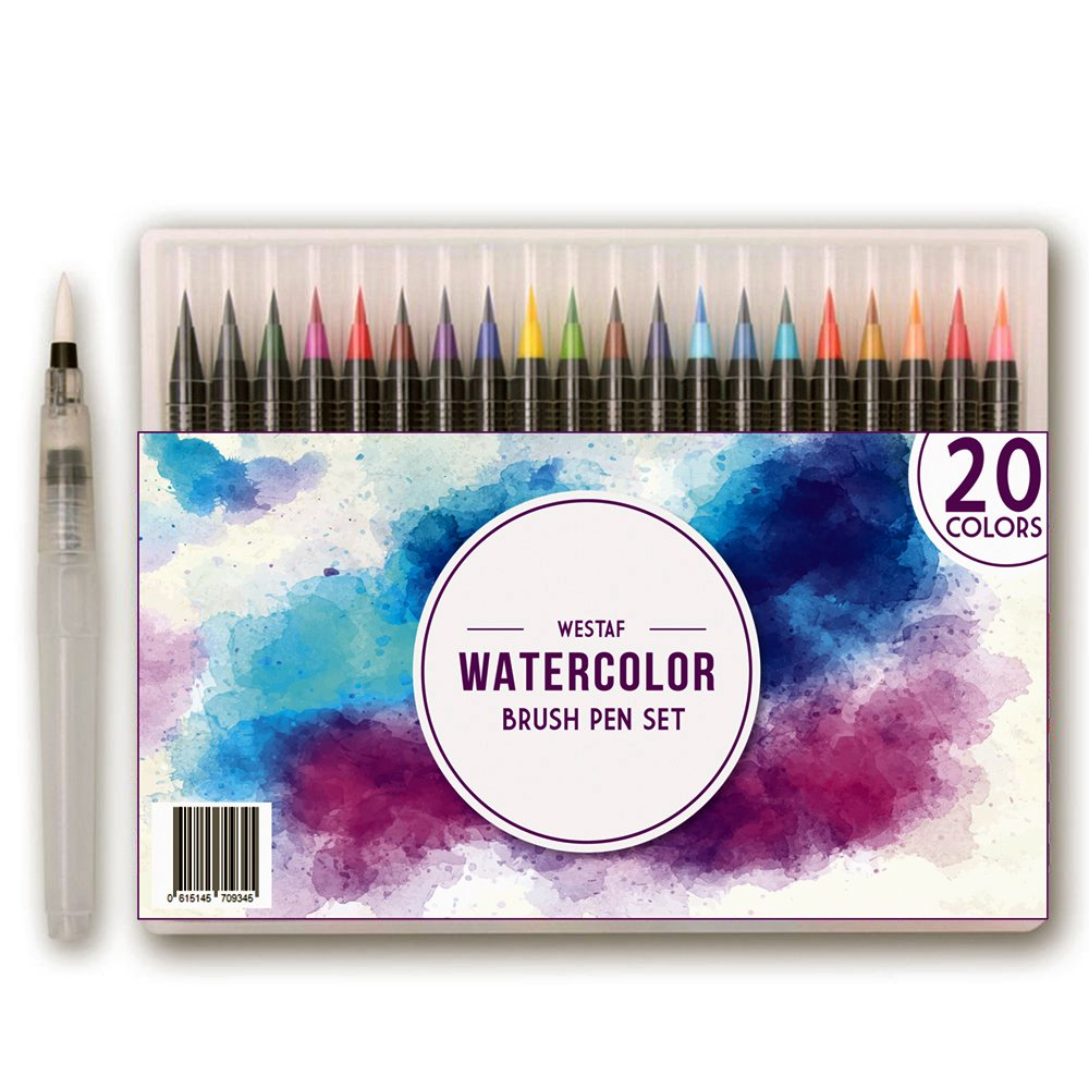Watercolor Brush Pens Set - 20 colors | Soft, Flexible Markers for Kids and Adult Coloring Books, Art, Calligraphy, Drawing, Writing and more | Water Based Ink, Non-Toxic, Acid-free | WESTAF
