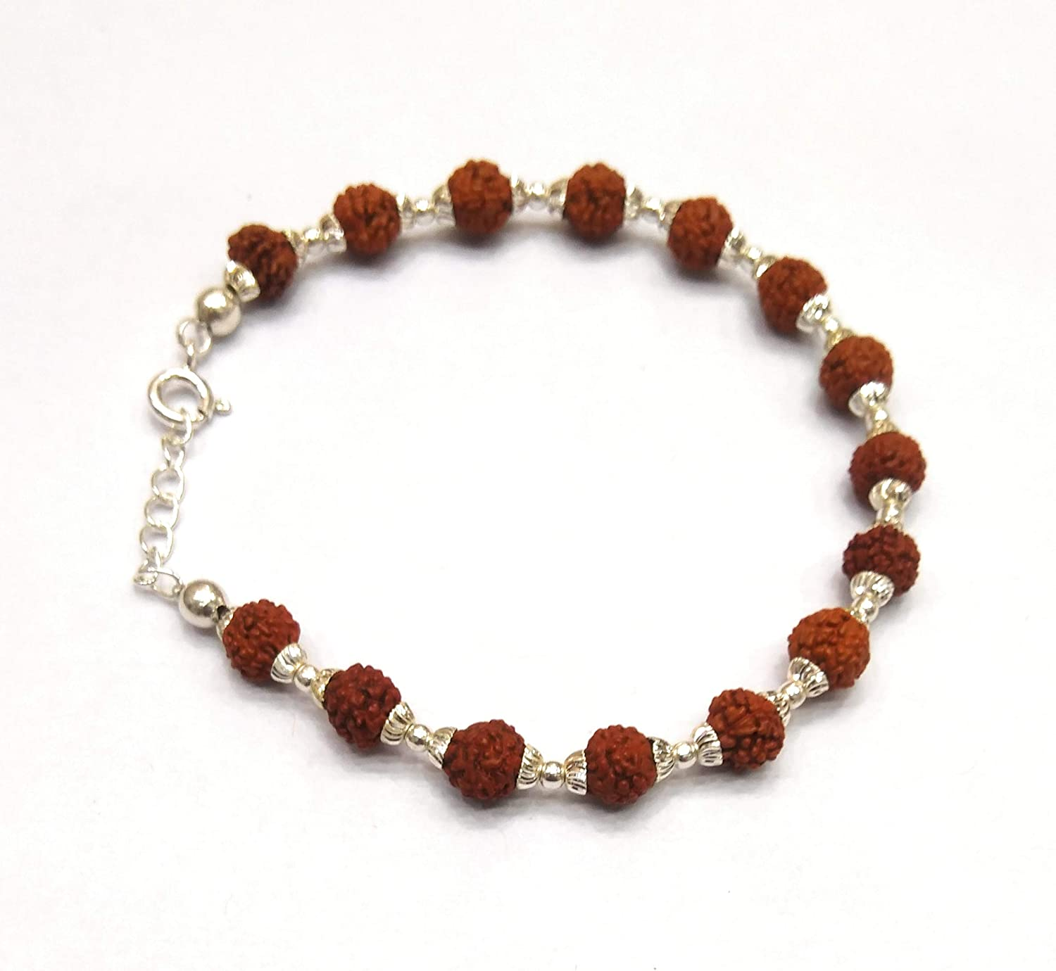 c8b256ee523 Buy Kukshya Rudraksha with 92.5% Sterling Silver Flower Caps Adjustable  Bracelet for Unisex Online at Low Prices in India | Amazon Jewellery Store  - Amazon. ...