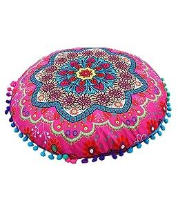 Luxsea Round Pillow Case Mandala Bohemian Cushion Cover Pillows Cover 17X17Inches 1pc
