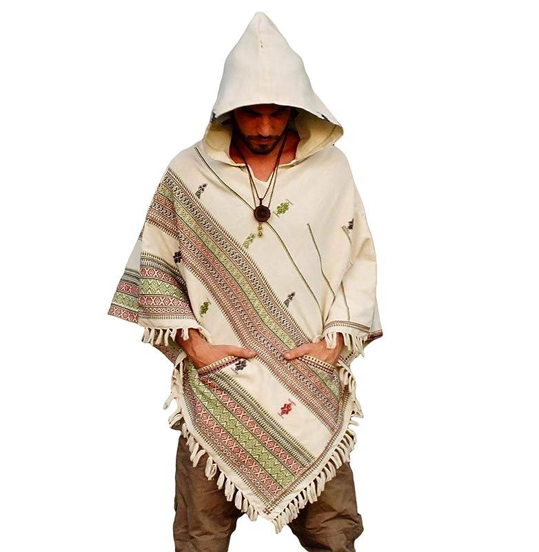 Earthy Tribal Pattern Festival Gypsy Black Poncho with Hood Kashmiri Wool