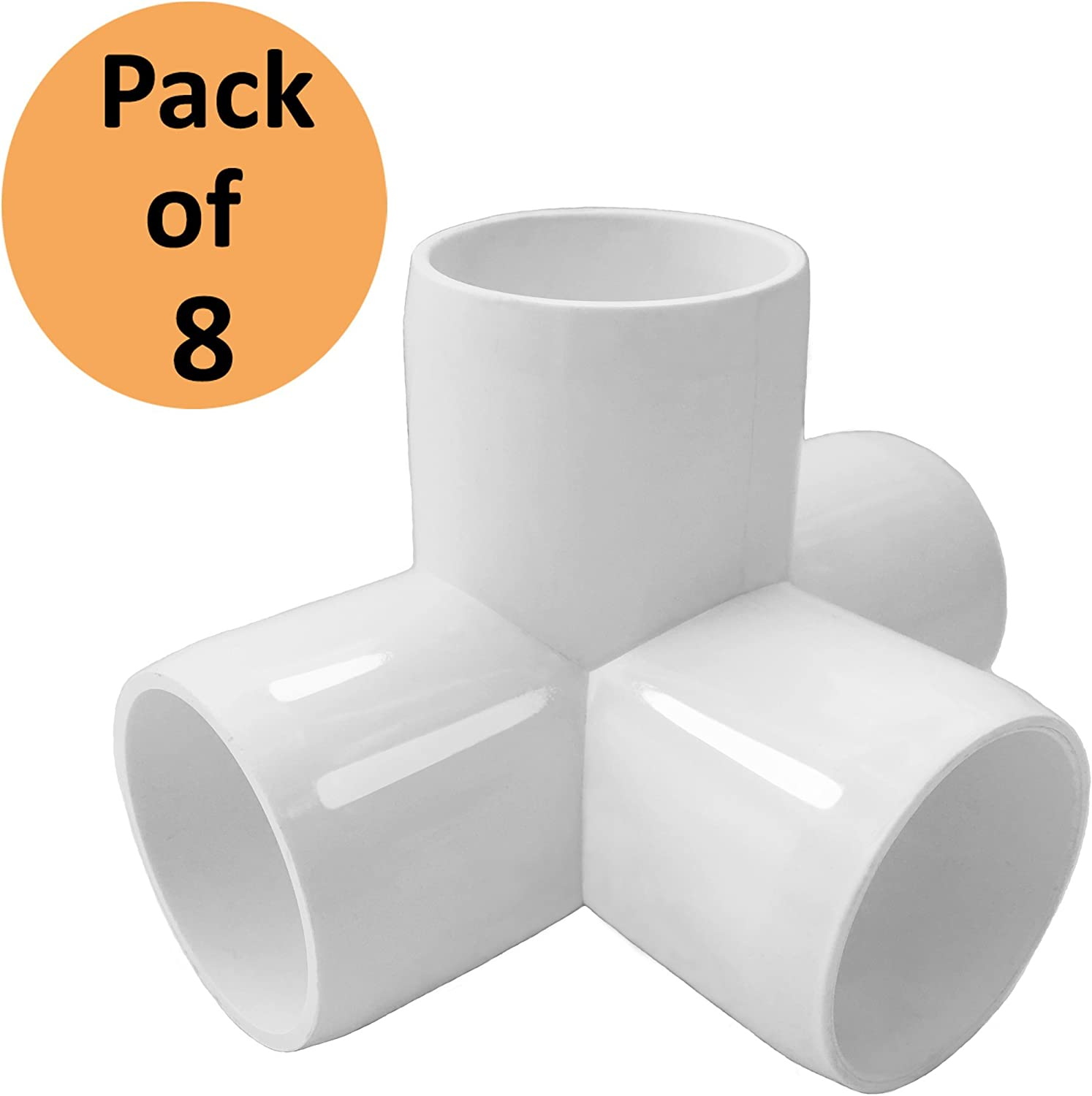 SELLERS360 4Way 1 1/4 in Tee PVC Fitting Elbow - Build Heavy Duty PVC Furniture - PVC Elbow Fittings [Pack of 8]