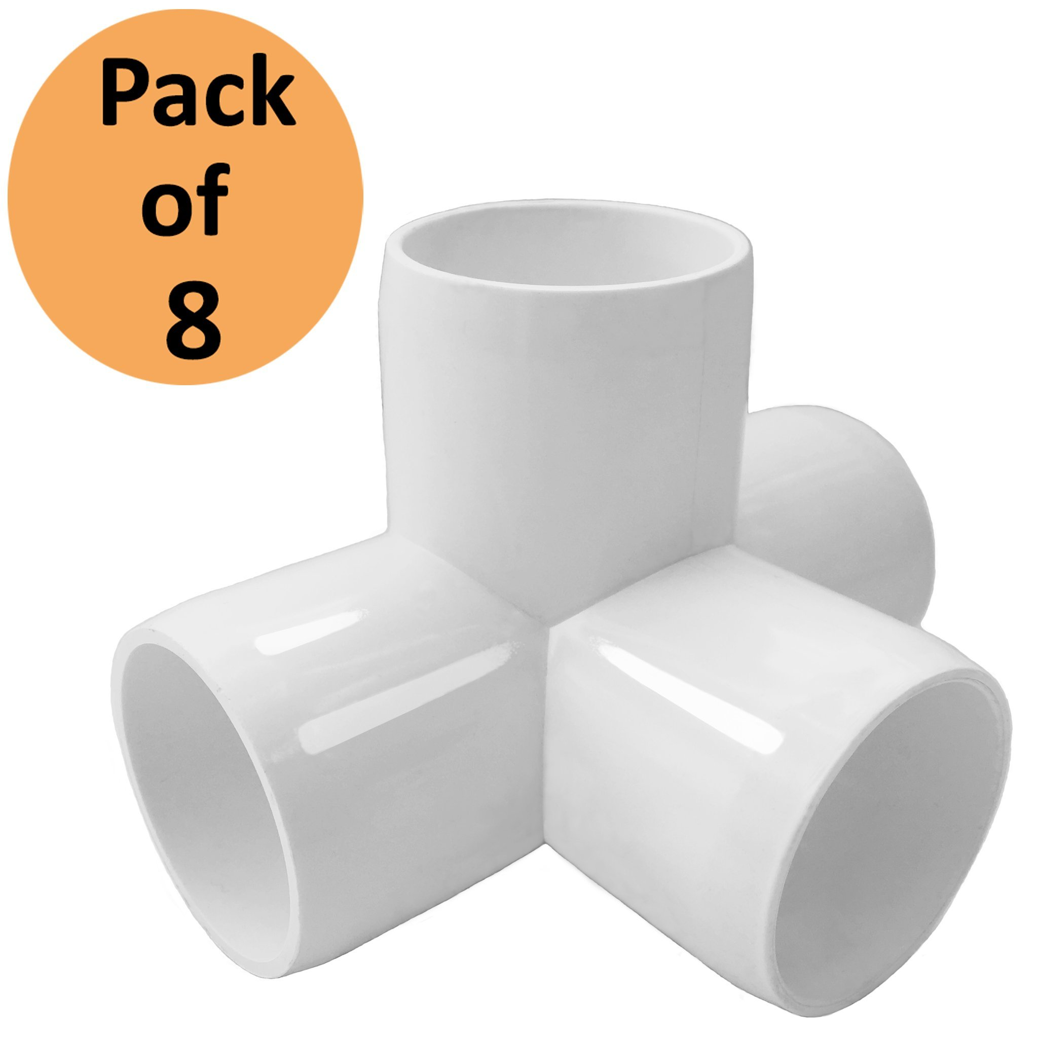 4 Way 1inch Tee PVC Fitting Elbow 1in - Build Heavy Duty PVC Furniture - PVC Elbow Fittings [Pack of 8]