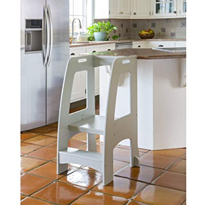 Guidecraft Kitchen Helper Tower Step-Up - Gray: Kids' Wooden, Adjustable Counter Height, Step Stool with Safety Handrails for Little Children - Toddler Furniture: Home & Kitchen