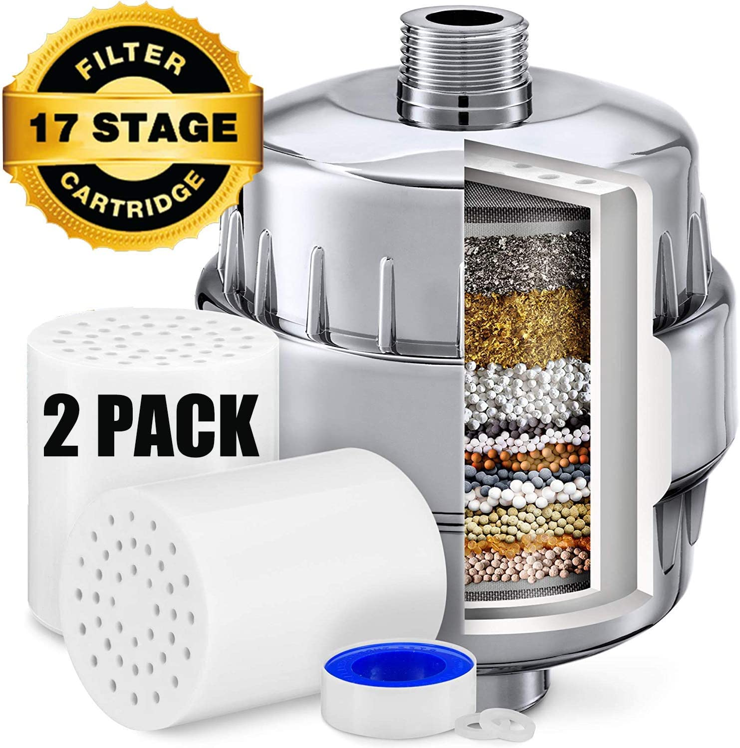 17 Stage Shower Filter for Hard Water - Remove Chlorine and Fluoride - Reduces Dry Itchy Skin,Dandruff, Eczema,Improves The Condition of Skin,Hair and Nails - 2 Replacement Filter Cartridges