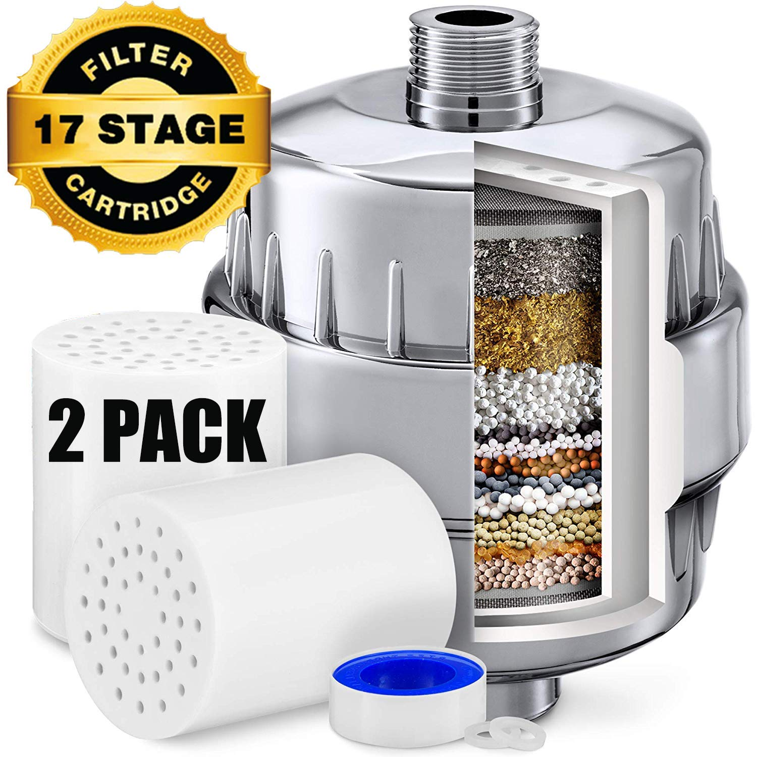 17 Stage Shower Filter - Shower Head Filter - Chlorine Showerhead Filter - Vitamin Shower Filter - Shower Water Filter - 2 Replacement Filter Cartridges - Shower Filter for Hard Water by Pppsdl