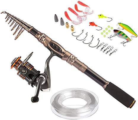 PLUSINNO® Spin Spinning Rod and Reel Combos Carbon Telescopic Fishing Rod with Reel Combo Sea Saltwater Freshwater Kit Fishing Rod Kit