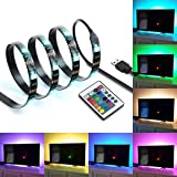 IREGRO TV LED Posteriore di Illuminazione Kit, 2 Bande Multi Color Luce Striscia di LED RGB di Illuminazione per TV USB Powered TV Retroilluminazione, Home Theater Accent Kit con Telecomando