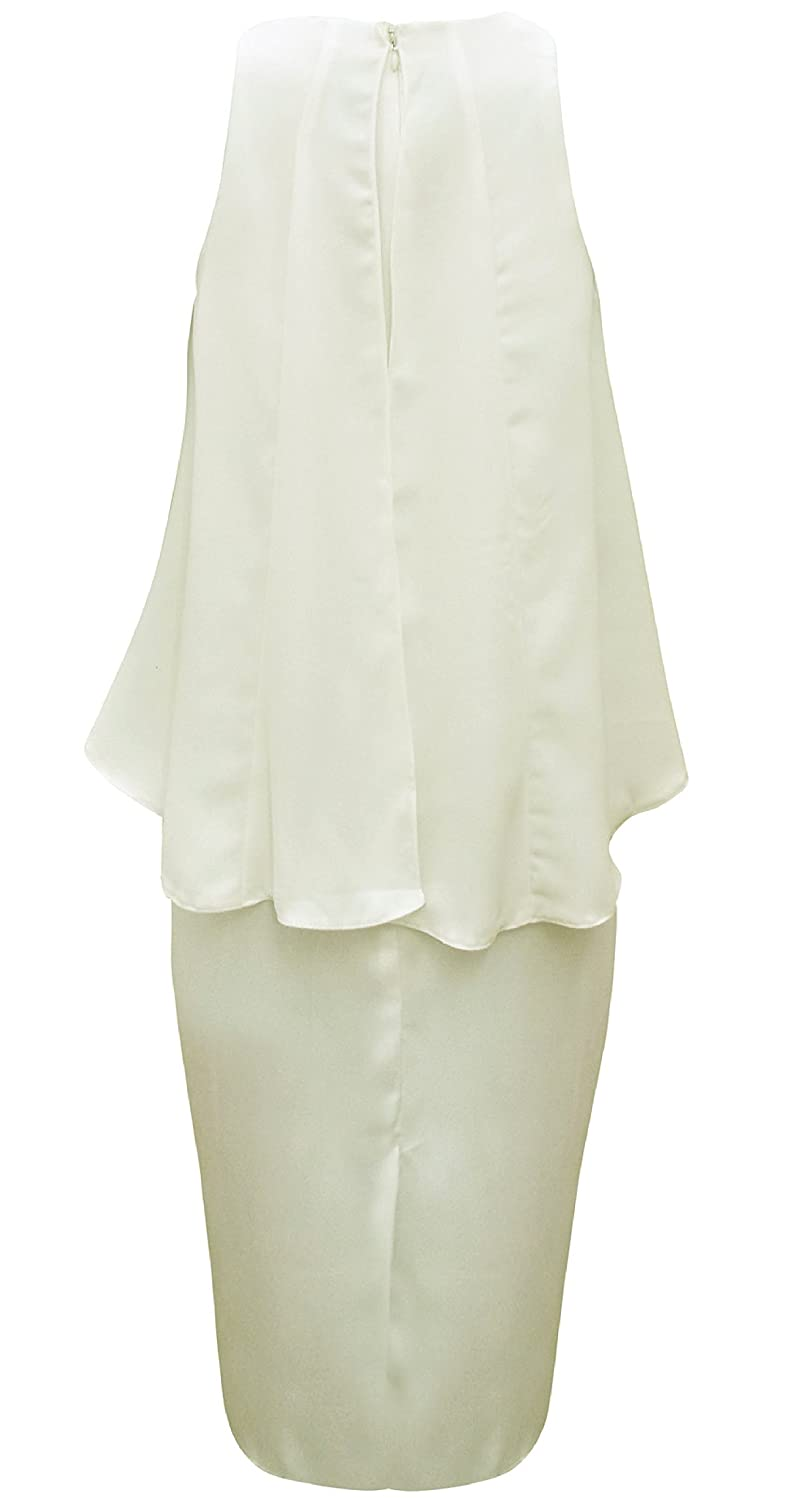 ASOS Ladies / Womens Stunning Ivory Chiffon Overlay Midi Dress Prom Wedding (6): Amazon.co.uk: Clothing