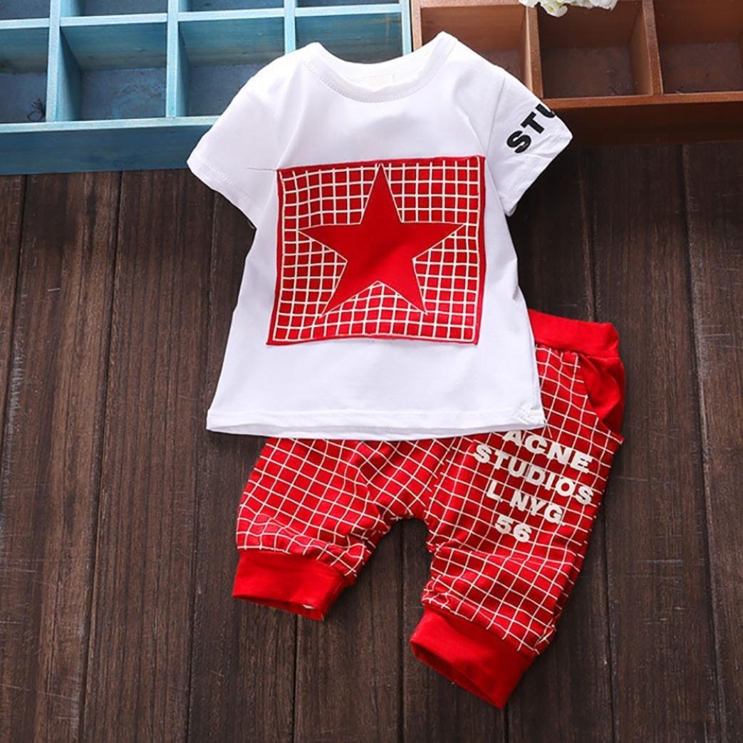 Kinder Sommerkleidung M/ädchen Baby Mingfa Oberteil mit Buchstaben-Stern-Druck und Hose im Set f/ür: Kleinkind Outfits f/ür 6-24/Monate