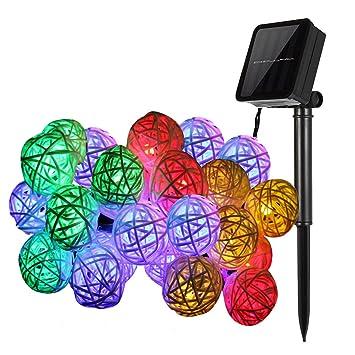 Kingcoo 16 4 Ft 20 Led Rattan Ball Lampe Solarbetrieben Globe
