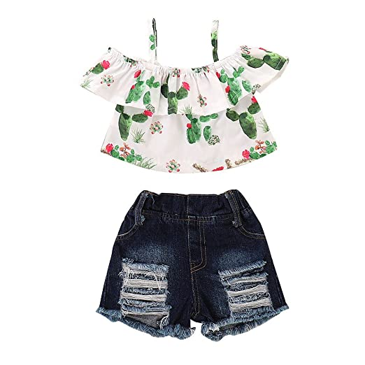 cea34c7f6b25 Newborn Baby Girl Cactus Bodysuit Floral Ruffle Sleeve Tassel Romper  Playsuit Outfit Clothes (A,