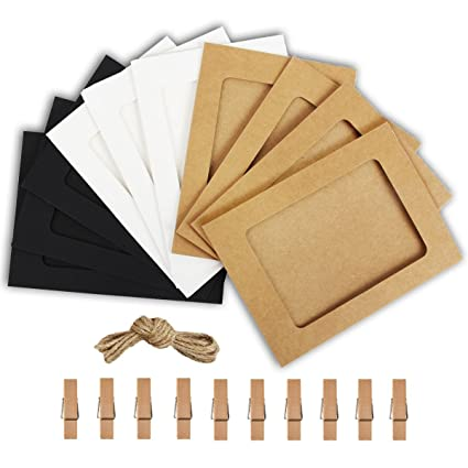 Amazon Com Paper Photo Frame 4x6 Kraft Paper Picture Frames 10 Pcs Diy Cardboard Photo Frames With Wood Clips And Jute Twine Colors Mixed Home Kitchen