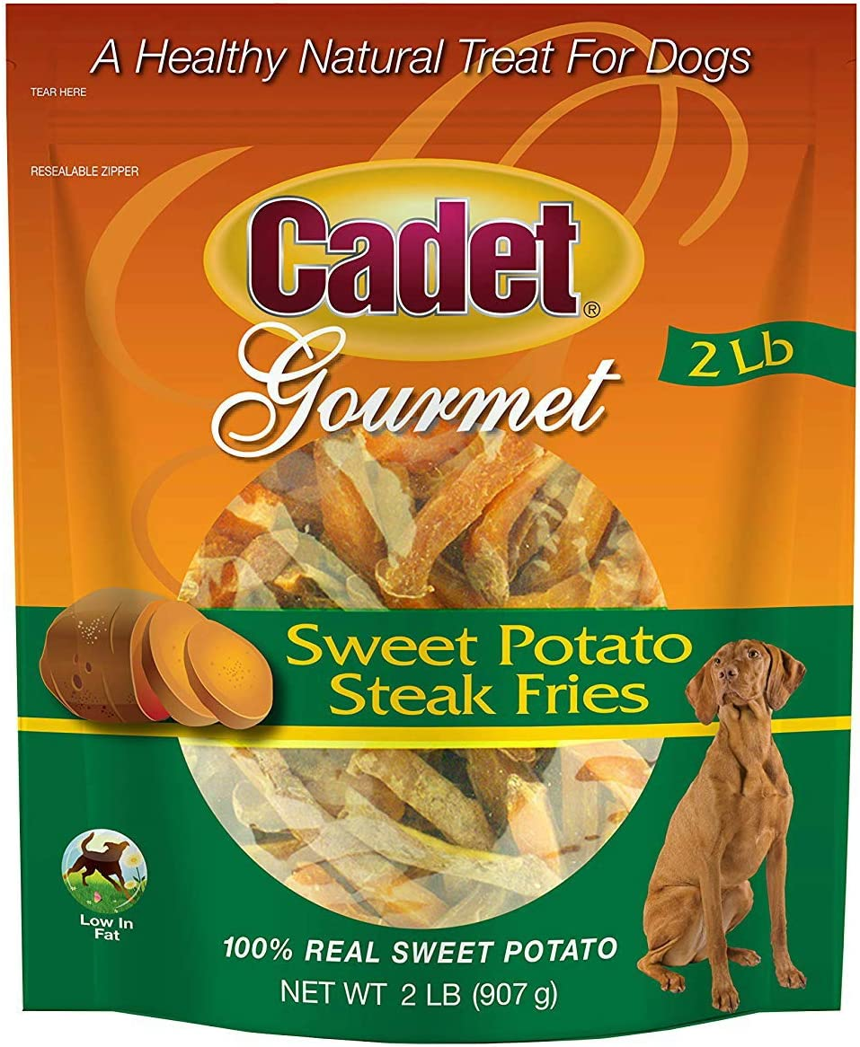 Cadet Sweet Potato Steak Fries Dog Chews, Gourmet, 2 Pound, 3 Pack