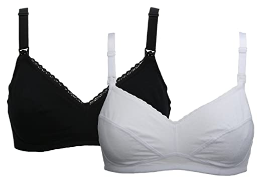 f2842448f15a6 Ex-Store 2 Pack Non Wired Maternity Nursing Bras Black and White   Amazon.co.uk  Clothing
