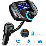 Bluetooth FM Transmitter for Car, ABOX FM Transmitter Wireless Radio Adapter Car Kit with 1.7'' Display Bluetooth 4.2 Quick Charge 3.0 Support TF Card Aux Input/Output