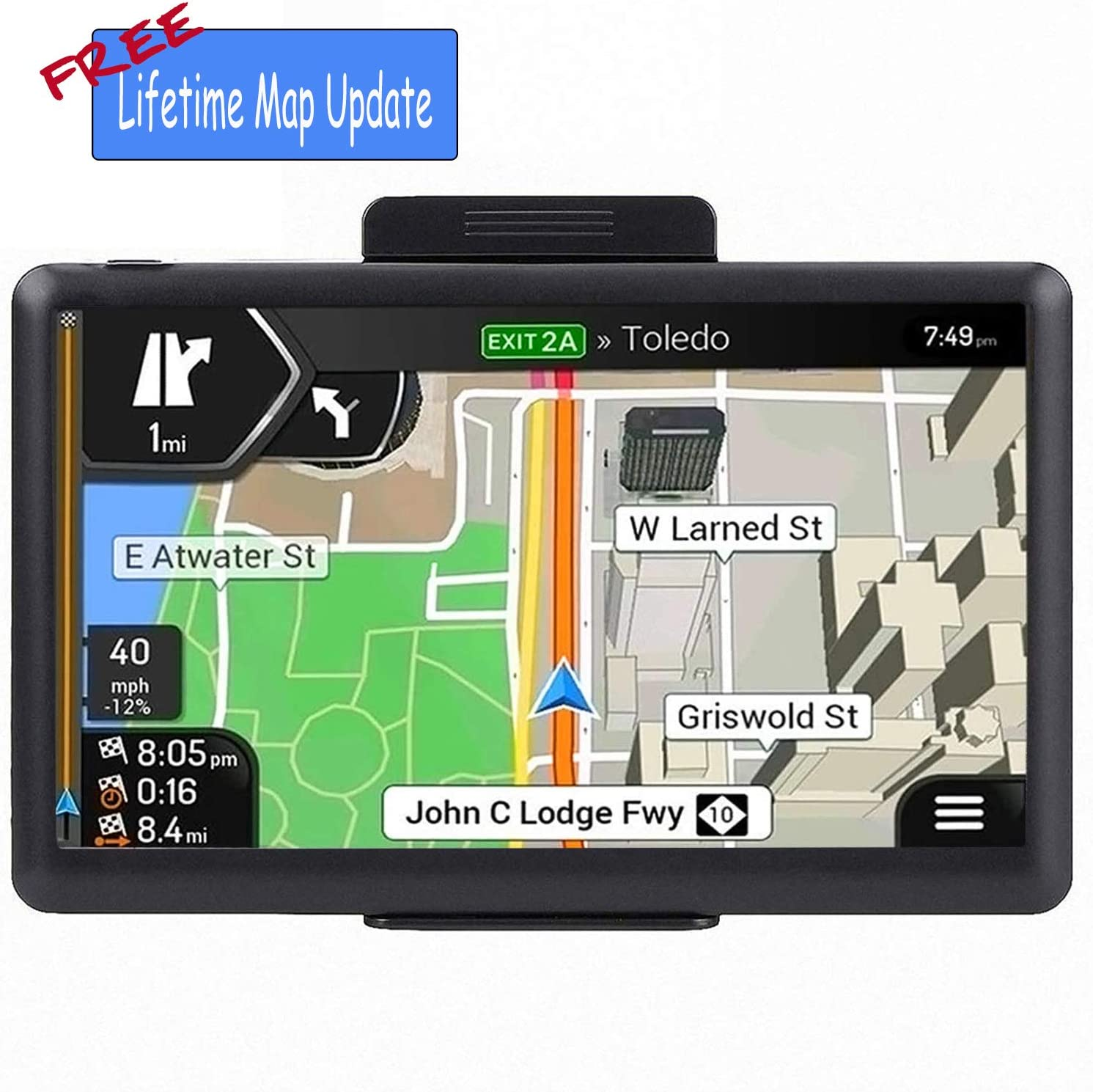 Voice Turn Indication GPS Navigation System North America 7-inch LCD Screen Universal Truck//Car Satellite Navigation GPS Navigation for Car Central America,Free Lifetime Map Update Speed Alert