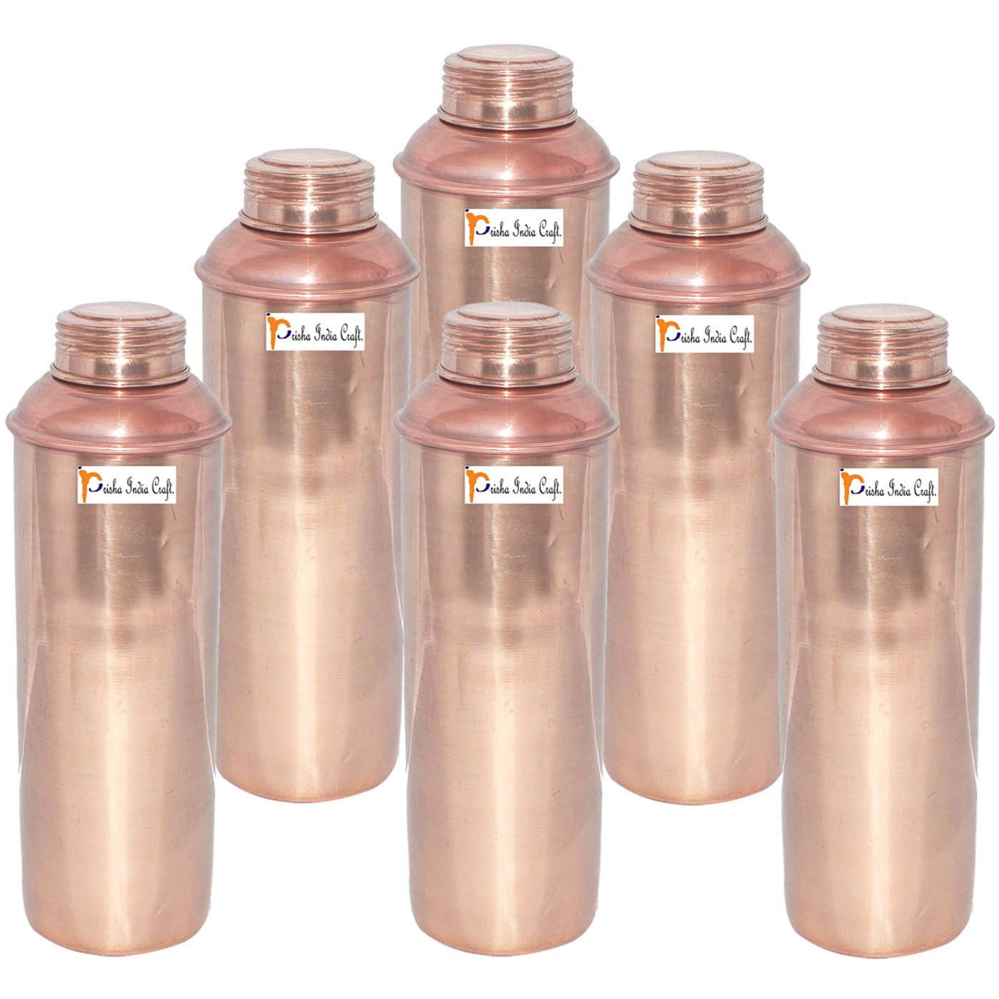 750 ML / 25 oz - Set of 6 - Prisha India Craft ® CHRISTMAS GIFT Pure Copper Water Bottle Pitcher for Ayurvedic Health Benefits - Handmade Copper Water Bottles
