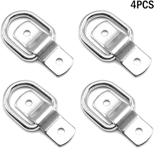 Surface Mounting Brackets Divoti 4X Surgical Stainless Trapezoid D Ring Tie Downs Cargo Trailer Anchors Points Surface-Mount//Bolt-on Applications