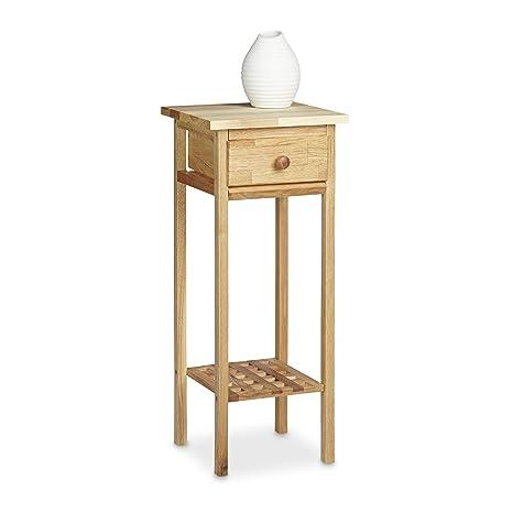 Relaxdays mesa para flores/puerta de flores, madera de nogal, con cajón mesa teléfono, con las siguientes medidas Hbt: aprox. 25 x 25 x 60 cm, color ...