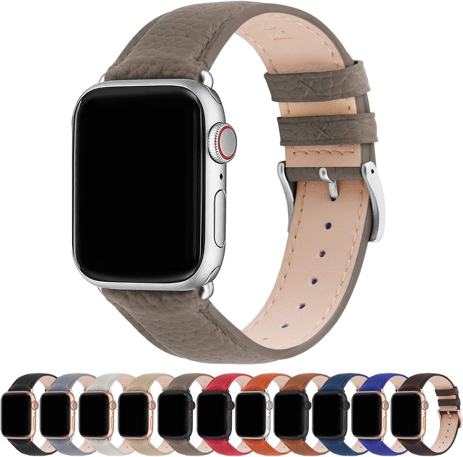 Fullmosa Compatible Apple Watch Band 44mm 42mm 40mm 38mm Leather Compatible iWatch Band/Strap Compatible Apple Watch SE & Series 6 5 4 3 2 1, 38mm 40mm, Elephant Grey + Silver Buckle