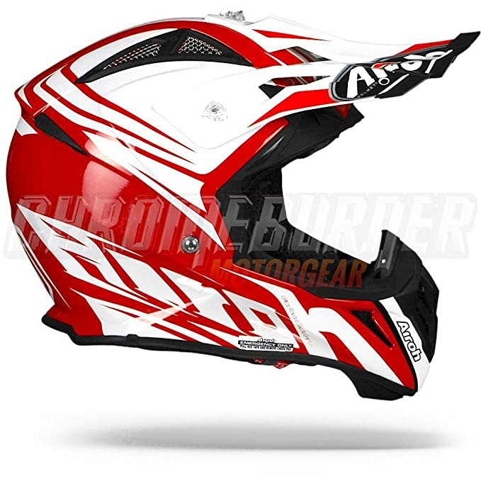 Amazon.es: Airoh Aviator 2.2 listo, color rojo brillante, rojo blanco casco de Motocross