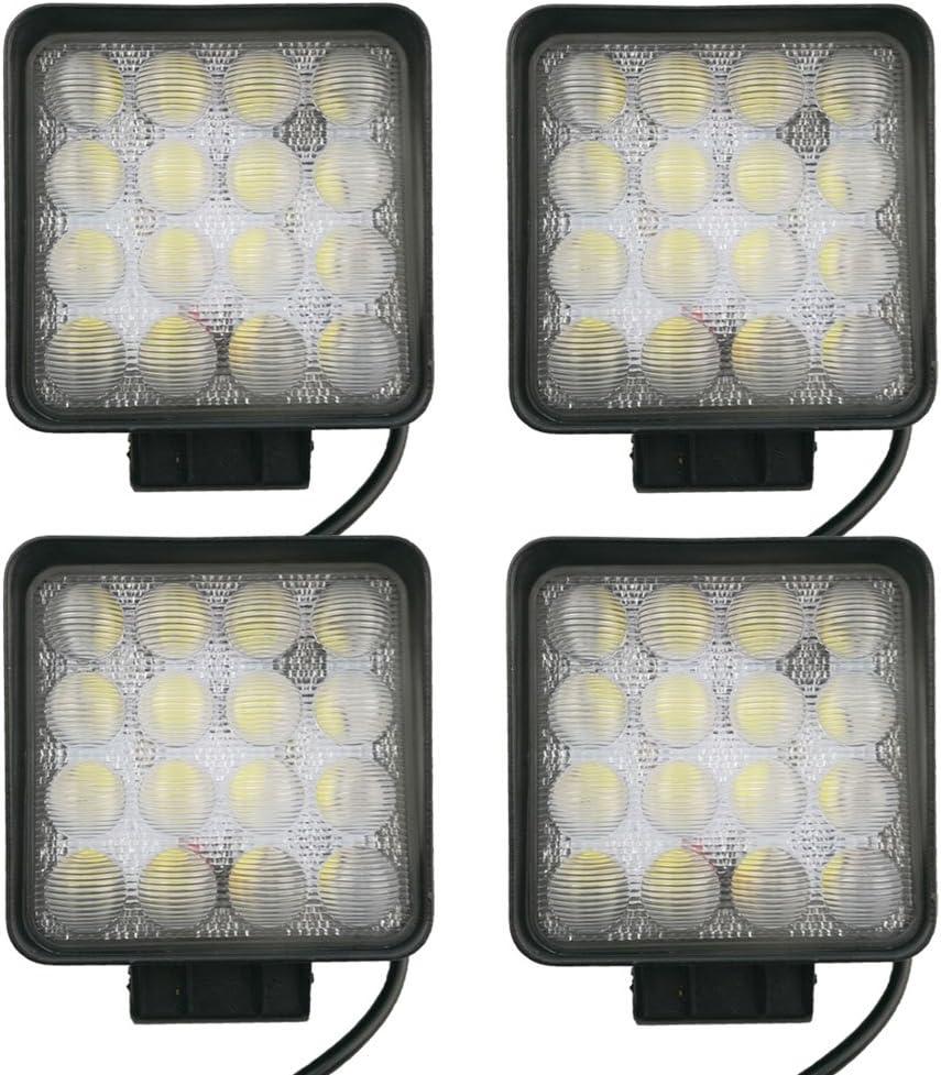 LARS360 2X 48W Led Faro de Trabajo 5D Luz Faro Coche Moto luces antiniebla Blanca L/ámpara Foco LED Offroad Foco Reflector Foco de Trabajo 1755LM Negro Aluminio Fundido IP67
