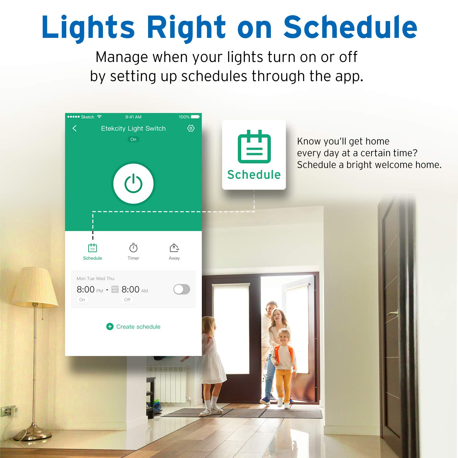 Etekcity Smart WiFi Light Switch, Wireless Remote Control from Anywhere, Schedule Your Home, No Hub Required, Works with Alexa and Google Home, Single Pole Only, White, 15A/1800W, ETL Listed by Etekcity (Image #3)
