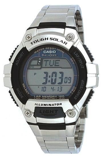 Reloj digital CASIO TOUGH SOLAR W S220D 1AVDF Solar, Crono, Alarma, Hora mundial, Sumergible 100m Caja y cadena de Acero inoxidable