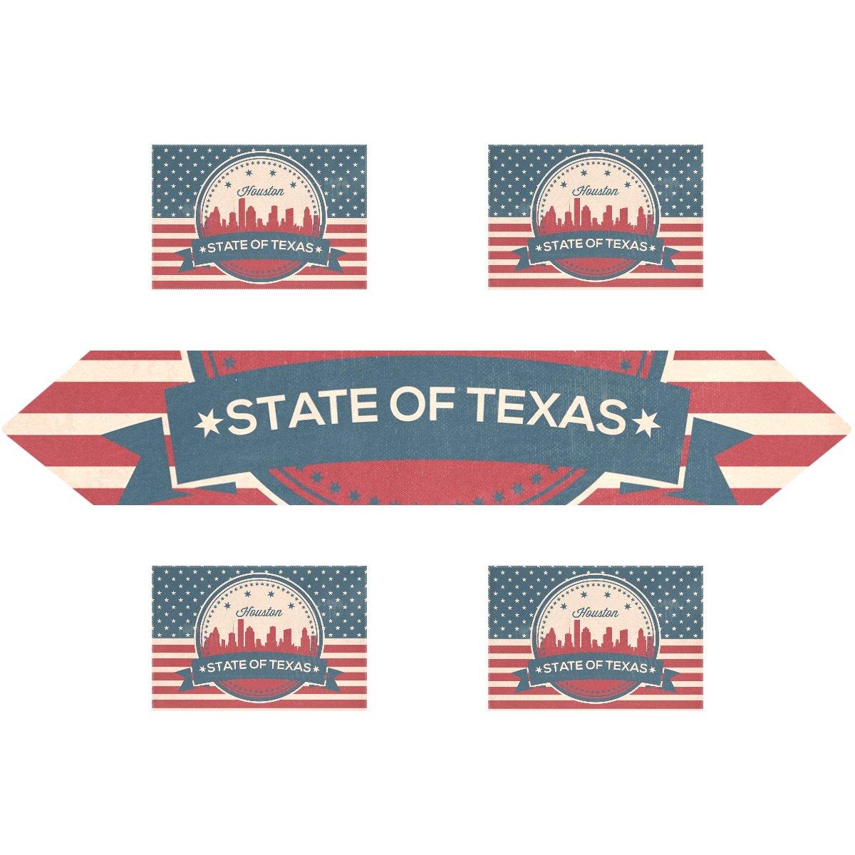ヴィンテージAmerican Flagテキサス州ヒューストンSkyline長方形テーブルランナー13 x 70インチwithプレースマットテーブルマット12 x 18インチの4のセット、結婚式、パーティー、ディナー、夏&ピクニックの国アウトドアホームde 13x70(in) & 12x18x6(in) ホワイト g1378118p172c202s301 13x70(in) & 12x18x6(in)  B076C88HS4